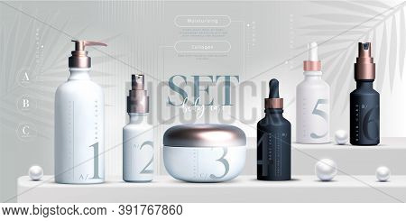 Elegant Cosmetic Set Of Products Background, Premium Cream Jar For Skin Care Products. Luxury Facial