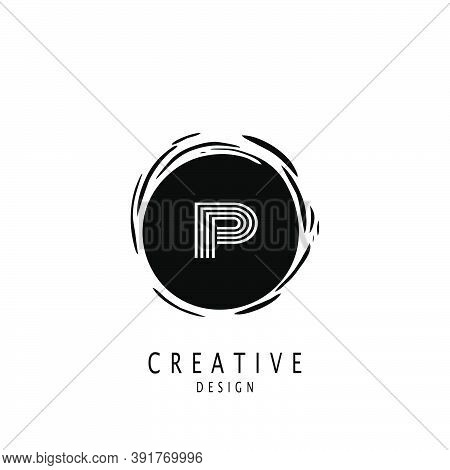 Monogram Circle Sun Letter P Logo. Vector Design Concept Sun Shape With Letter P Logo On Monogram Co