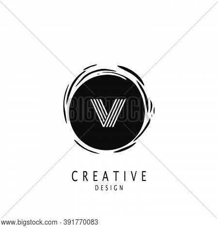 Monogram Circle Sun Letter V Logo. Vector Design Concept Sun Shape With Letter V Logo On Monogram Co