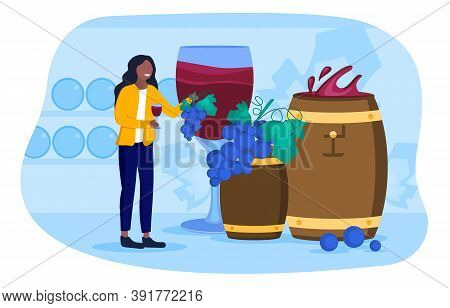 Wine Tasting Concept. A Girl Standing In A Wine Cellar With Wine Barrels And Tasting Wine. Flat Cart