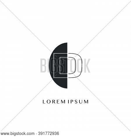 Outline  Letter D Overlap Half Ellipse Polygon Geometric Logo. Monogram Half Ellipse Polygon Geometr