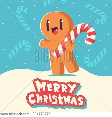 Christmas Greeting Card With Cute Gingerbread Man Cookie Vector Cartoon Character On Snowy Backgroun