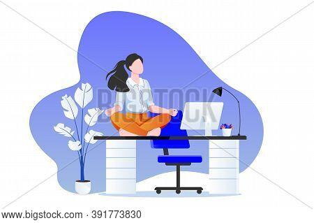 Businesswoman Sitting In Lotus Pose On Office Desk. Office Yoga Break. Vector Illustration. Relaxing