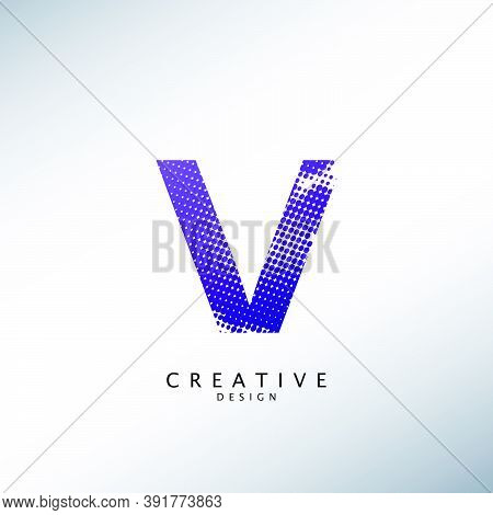 Abstract Halftone Initial Letter V Logo Icon, Design Concept Abstract Techno Halftone Shape With Let