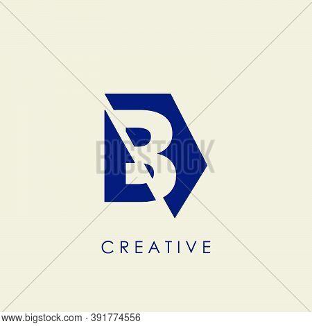 Logo B Letter Geometrical Techno Half Hexagon. Vector Design Concept Geometric Half Hexagon With Let