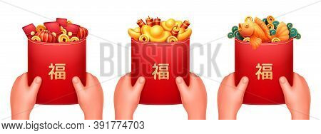 Red Envelope With Fu Symbol In Hands, Embossed Golden Hieroglyphs, Red Bags With Lanterns, Coins And