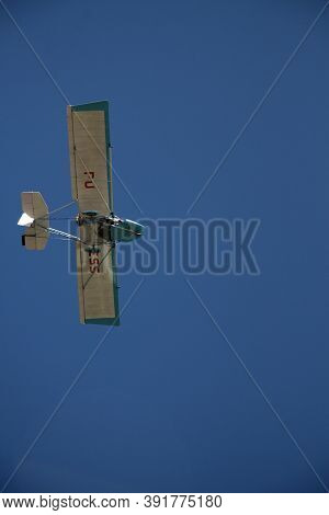 Porto Seguro, Bahia / Brazil - February 6, 2008: Experimental Ultralight Plane Is Seen During Flight