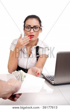 Busines woman taking bribe