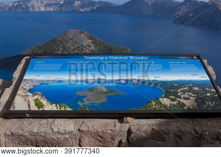 Crater Lake National Park,  Oregon / Usa - September 18, 2014:  A Metal Sign At Watchman Lookout Abo