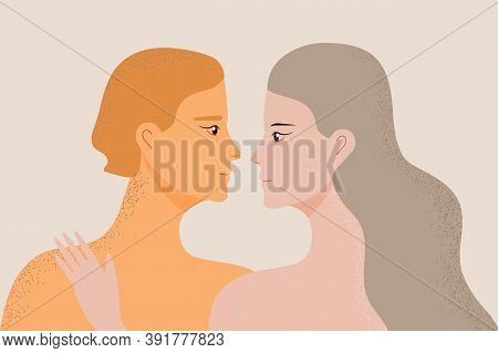 Partners In Love Concept Vector. Woman And Man Are Flirting And Smiling. Happy Marriage, Husband And
