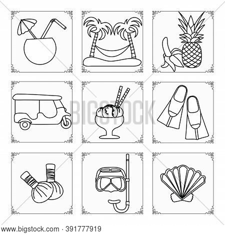 Thailand Symbols Set Vector Illustration Cocktail, Palm Trees, Hammock, Banana, Pineapple, Ice Cream