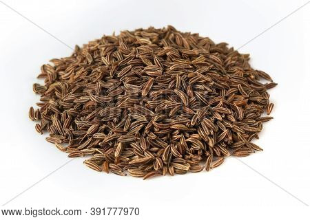 Caraway Seeds Isolated On White Background. Cumin Closeup, Studio Shooting.