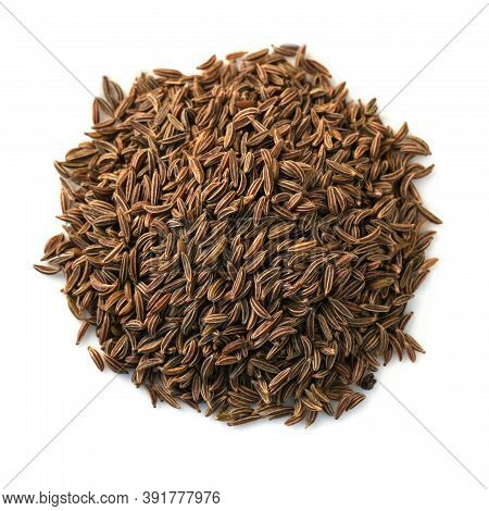 Caraway Seeds Isolated On White Background. Cumin Top View, Studio Shooting.