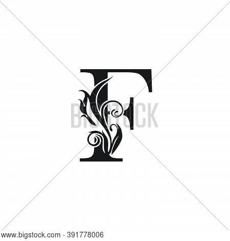 Monogram Luxury Letter F Logo Icon. Simple Luxury Design Concept Floral Leaves With Letter F Logo Ic