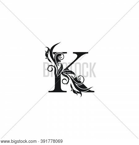 Monogram Luxury Letter K Logo Icon. Simple Luxury Design Concept Floral Leaves With Letter K Logo Ic