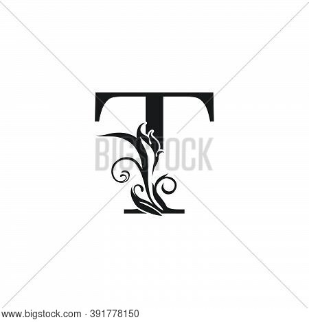 Monogram Luxury Letter T Logo Icon. Simple Luxury Design Concept Floral Leaves With Letter T Logo Ic