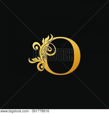 Golden Luxury Letter O Logo Icon, Vintage Design Concept Floral Leaves With Letter O Gold Color For