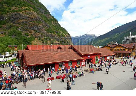 Flam, Norway - 25 Jun 2012: Flam Village In Mountains Of Norway