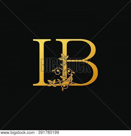 Golden Letter L, B, Lb Luxury  Logo Icon, Vintage Design Concept Floral Leaves With Letter L And B,
