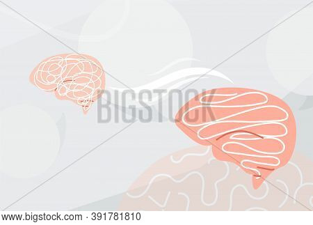 Concept Understand, Explanation Mind Background. Vector Illustration Of Two Brains And Process, Conn