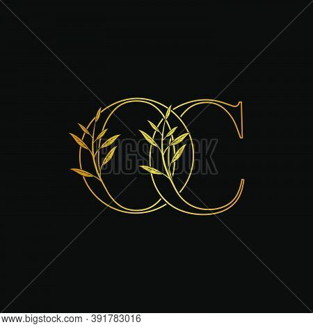 Golden Initial O And C, Oc, Co Letter Logo Icon, Outline Vintage Design Concept Classic Nature Leave
