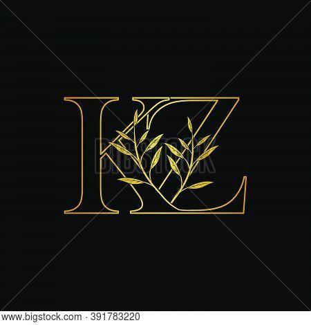 Golden Initial K And Z, Kz, Zk Letter Logo Icon, Outline Vintage Design Concept Classic Nature Leave