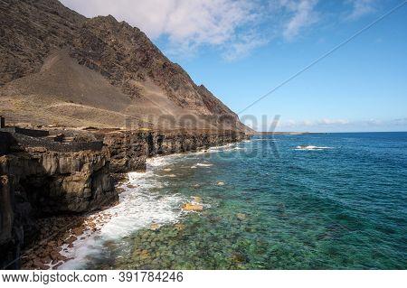 Lava Coast In El Hierro Island, Canary Islands, Spain. El Golfo, Biosphere Reserve. High Quality Pho