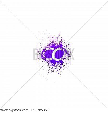 Initial  Letter C And O, Co Logo Icon Abstract  Ink Spaltter. Purple  Splash  With Hidden Letter Log