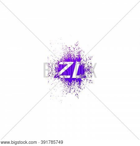 Initial  Letter Z And L, Zl Logo Icon Abstract  Ink Spaltter. Purple  Splash  With Hidden Letter Log
