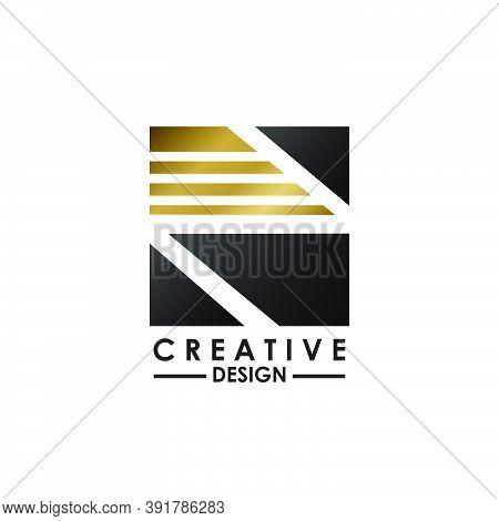 Negative Space Letter N Logo.  Creative Design Concept Square Shape, Stripe  Line With Hidden Letter