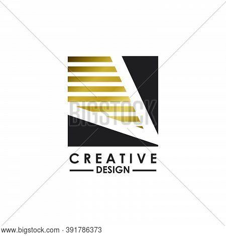 Negative Space Letter V Logo.  Creative Design Concept Square Shape, Stripe  Line With Hidden Letter