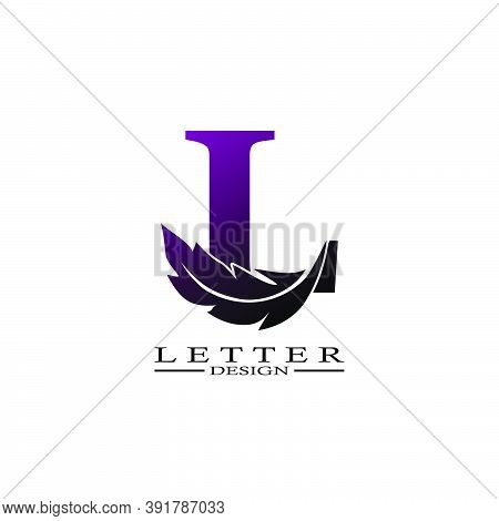 Initial Letter L  Logo With Feather. Trendy Design Concept  Luxury Feather Element.