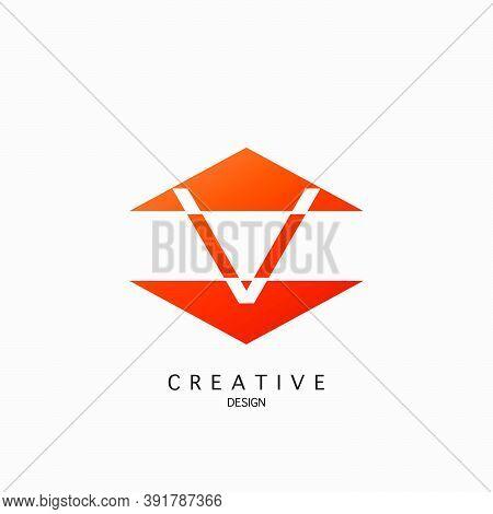 Logo V Letter Techno Triangle Geometrical, Design Concept Triangle Geometric Shape With  Letter V  L