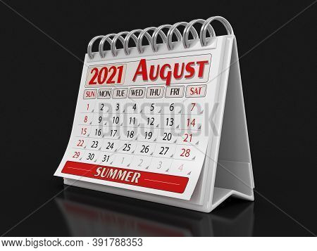 3d Illustration. Calendar -  August 2021 (clipping Path Included)
