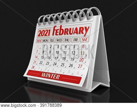 3d Illustration. Calendar -  February 2021  (clipping Path Included)