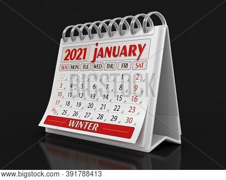3d Illustration. Calendar -  January 2021 (clipping Path Included)