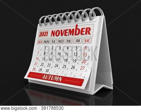 3d Illustration. Calendar -  November 2021 (clipping Path Included)