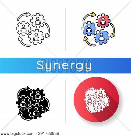 Human Synergy Icon. Corporate Workforce. Collaboration Of Company Employee. Business Cooperation. Co