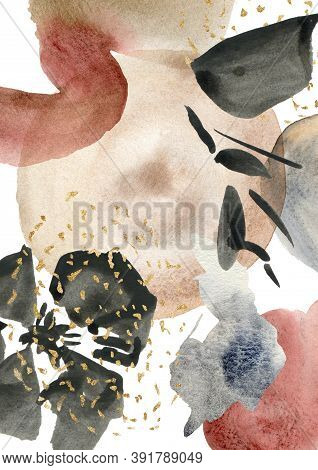 Watercolor Abstract Poster With Red, Black, Beige And Gold Spots. Hand Painted Pastel Illustration I