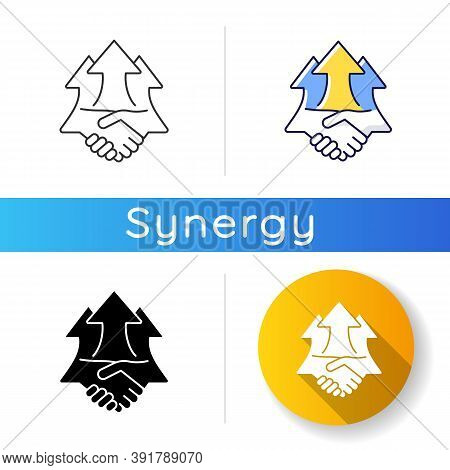 Synergy Effects Icon. Successful Partnership. Benefit From Collaboration. Handshake To Set Deal. Pos