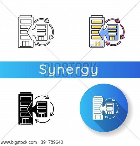 Corporate Synergy Icon. Company Merge. Corporation Integration. Extend Business. Office Expansion. J