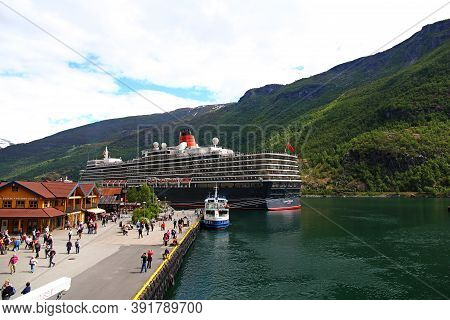 Sognefjord, Norway - 25 Jun 2012: The Seaport Flam In The Cruise On Sognefjord And Aurlandsfjord, No