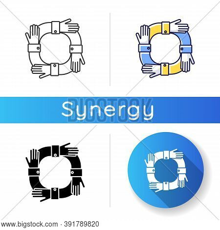 Operating Synergy Icon. Business Cooperation. Work Collaboration. Community Partnership. Teamwork Fo