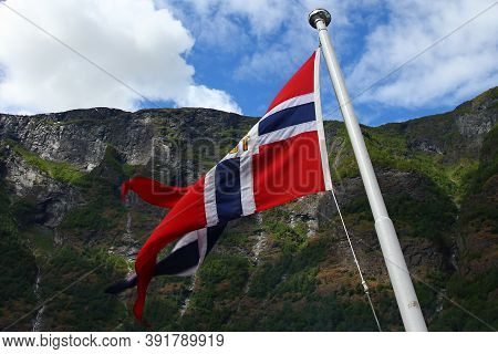 The Flag In The Cruise On Sognefjord And Aurlandsfjord, Norway