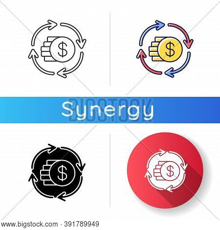 Capital Synergy Icon. Income From Bank Operation. Financial Exchange. Money Conversion. Exchange Of