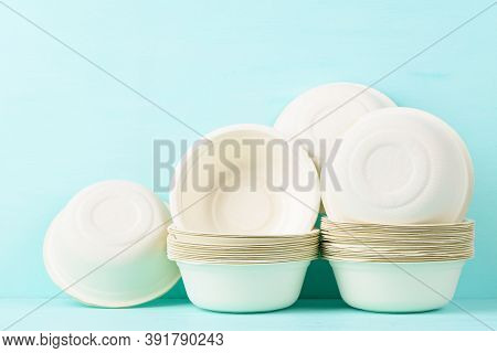 Biodegradable, Compostable, Disposable Or Eco Friendly Utensil Bowl On Pastel Color Background, Sust