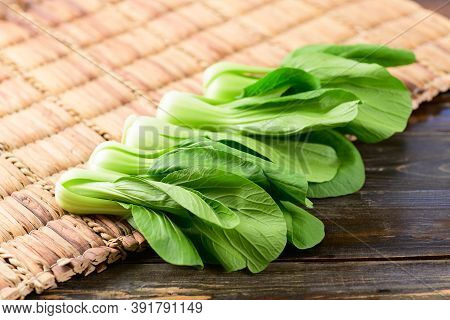 Fresh Bok Choy Or Pak Choi(chinese Cabbage) On Wooden Background, Organic Vegetables