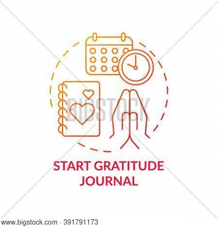 Start Gratitude Journal Concept Icon. Self Care Practices. Tool For Keeping Track Of Healthy Tasks Y