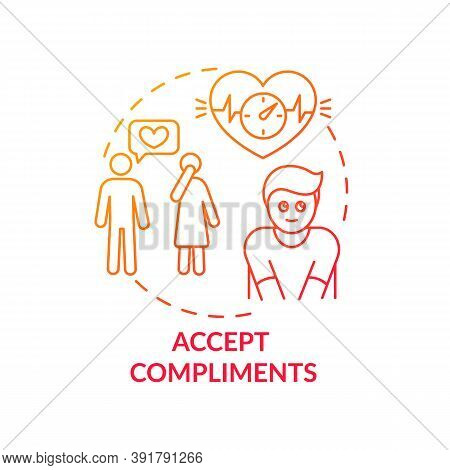 Accept Compliments Concept Icon. Body Positivity Tips. Receiving Kind Words From Other People. Joyfu