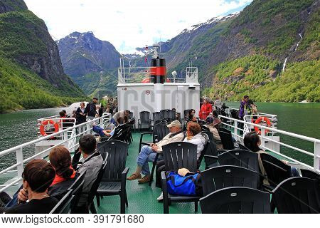 Sognefjord, Norway - 25 Jun 2012: The People On The Ship In The Cruise On Sognefjord And Aurlandsfjo